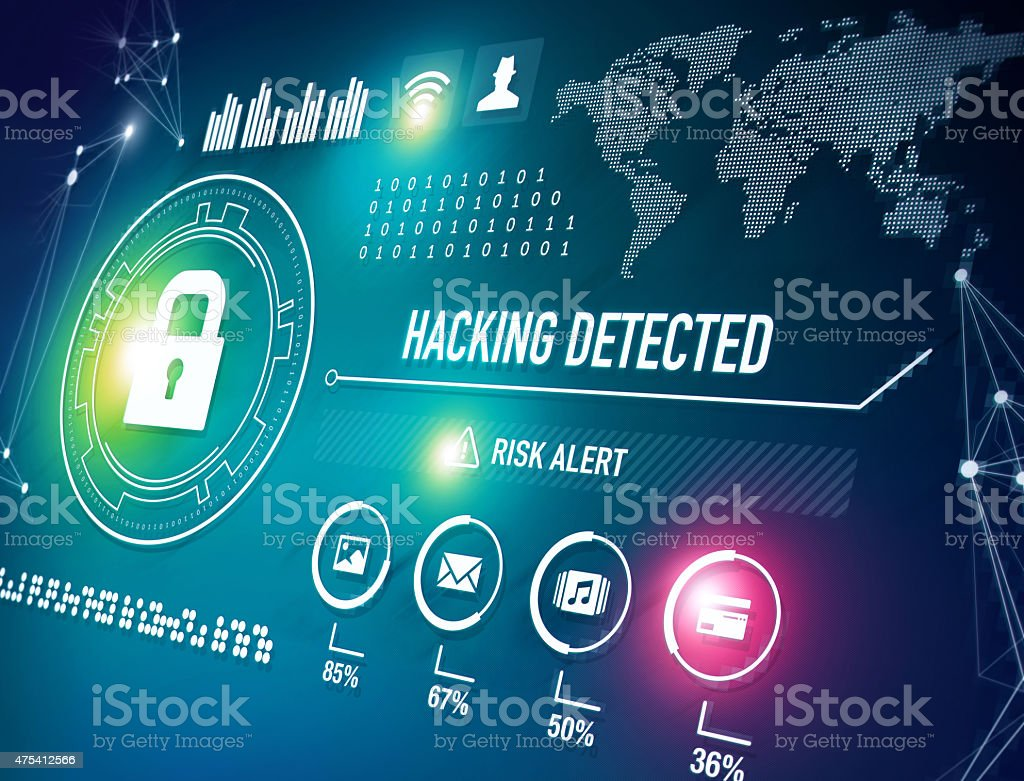 Online Security and Hacking Alert stock photo