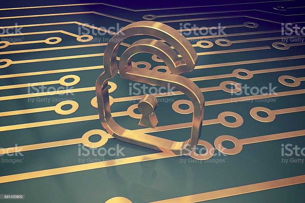 Online security concept padlock stock photo