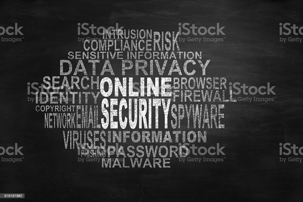 Online security related tags on blackboard stock photo