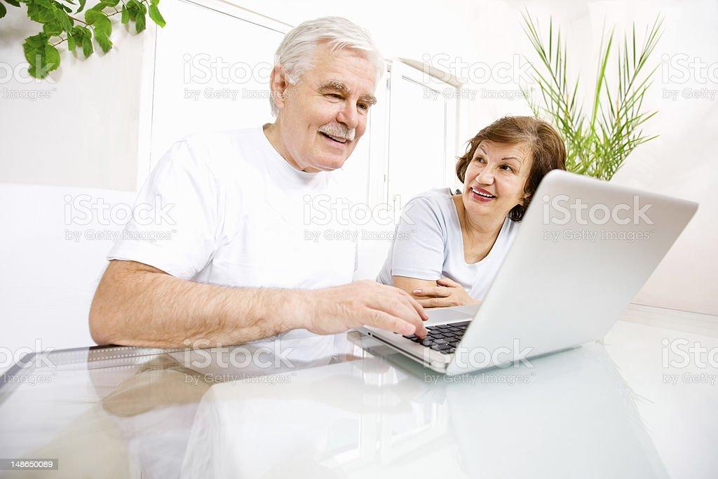 Online Senior Couple - Wide Ange Shot royalty-free stock photo