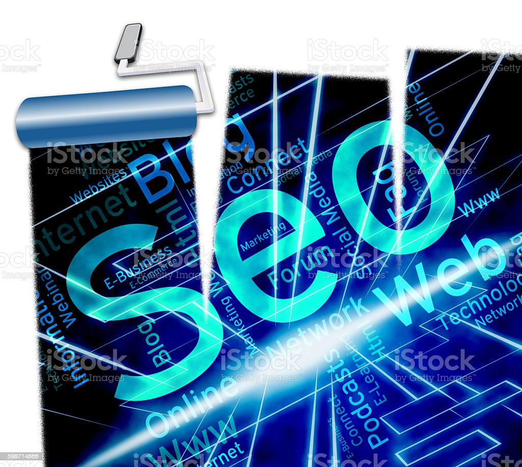 Online Seo Shows Web Site And Engine stock photo