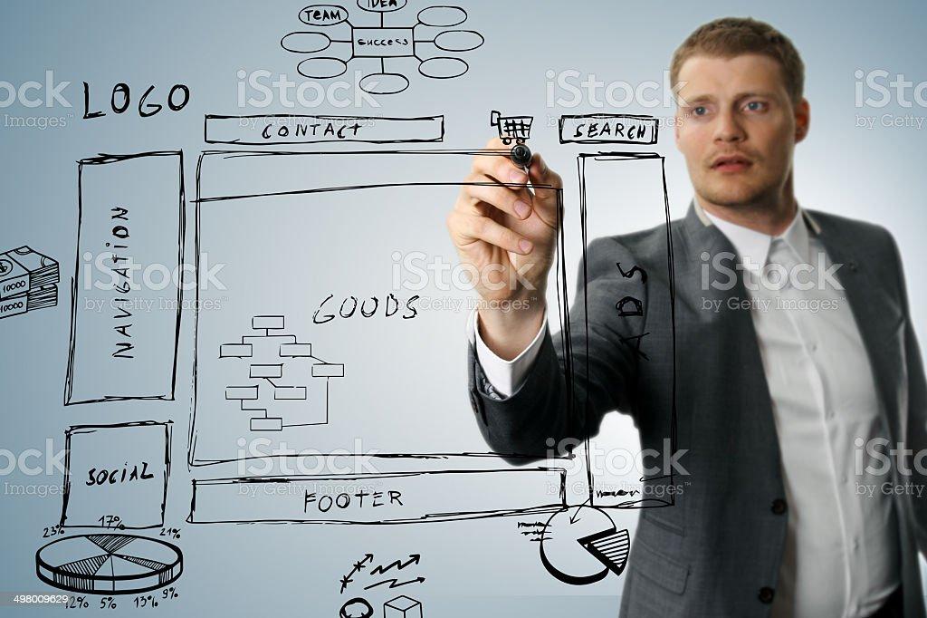 online shop development wireframe sketch stock photo