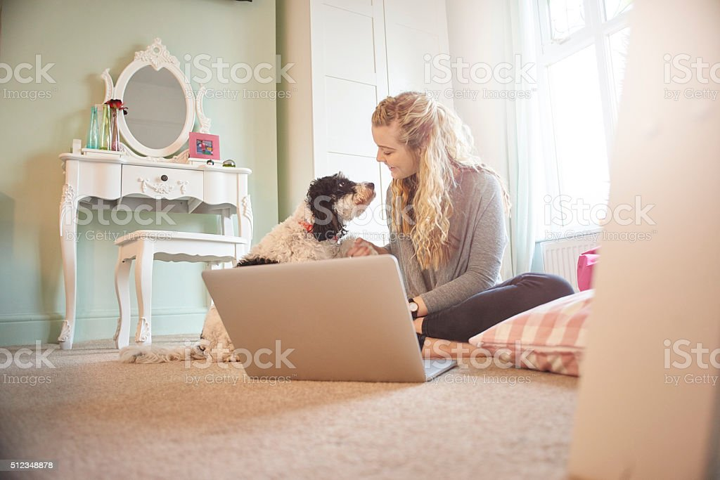 online shopper with her best friend stock photo