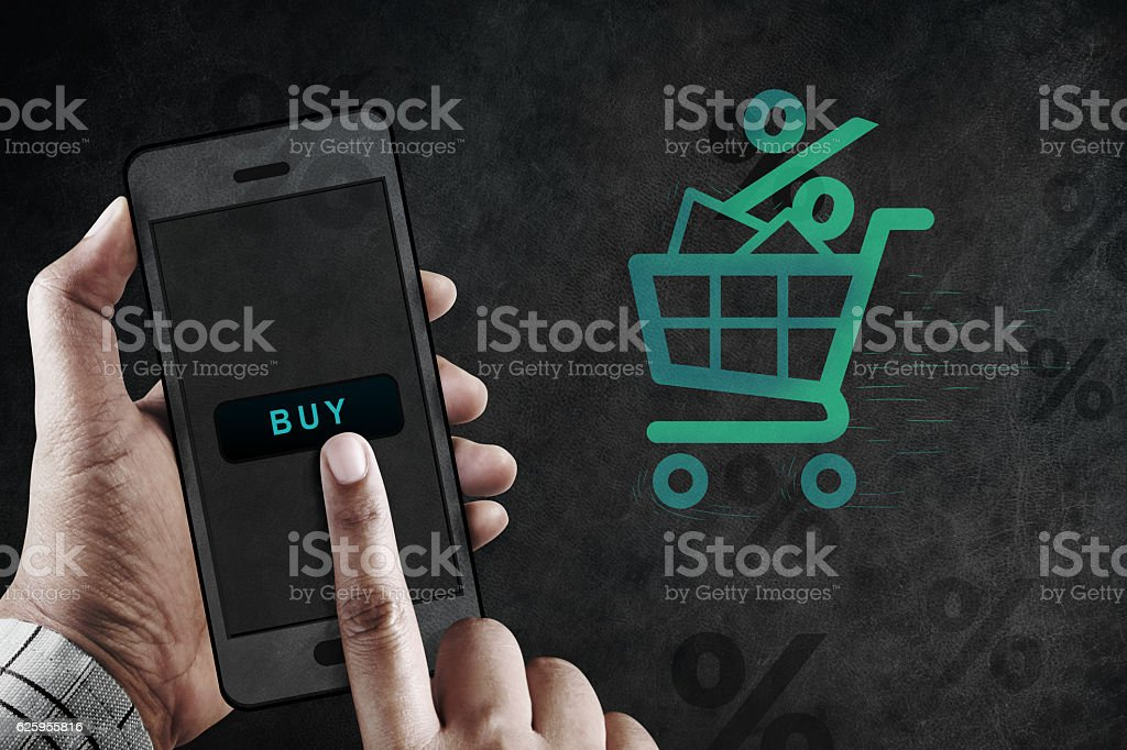 Online Shopping Concept, Hand using Mobile to Buy Product Online stock photo