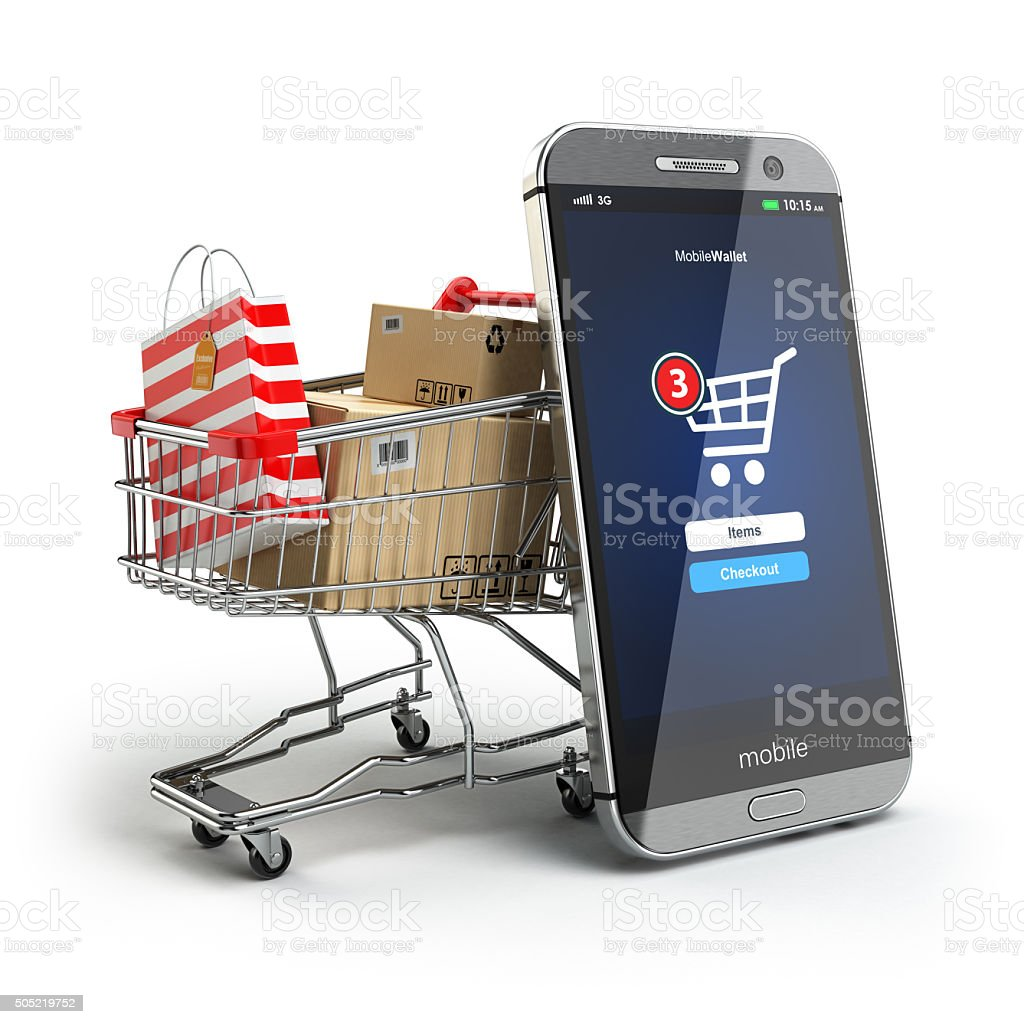 Online shopping concept. Mobile phone or smartphone with cart an stock photo