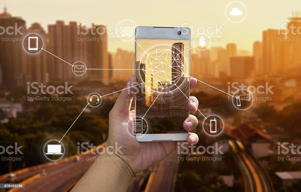 online shopping  network connection concept. stock photo