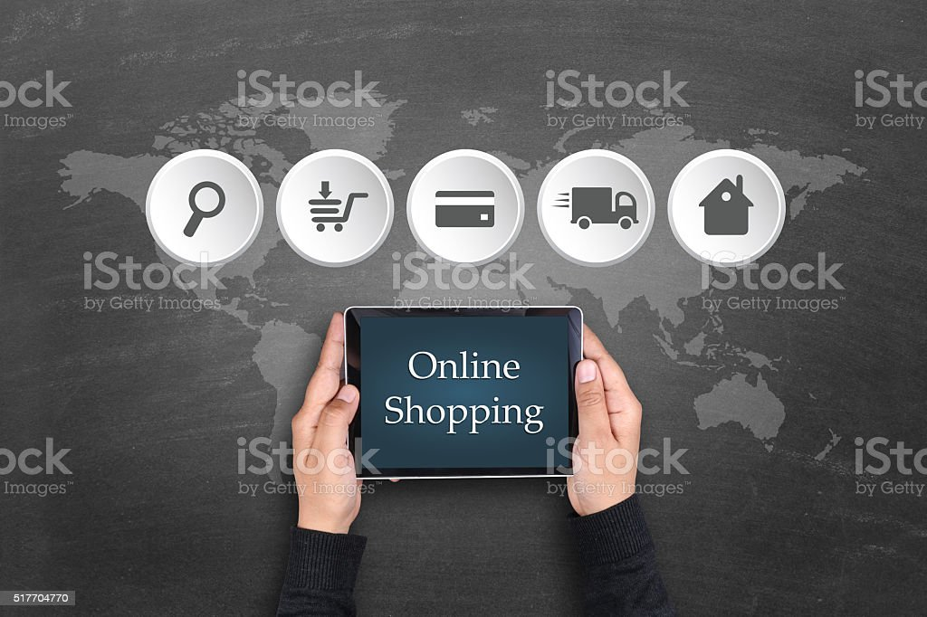 Online shopping process on digital tablet stock photo