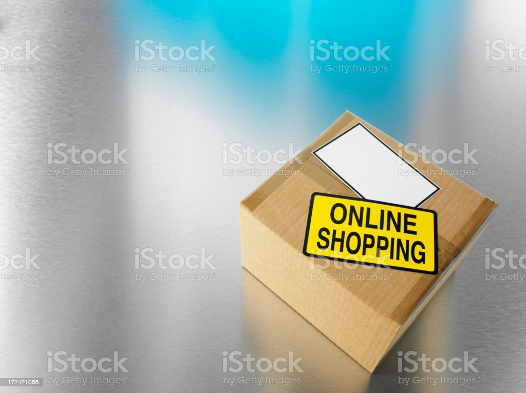Online Shopping Sticker on a Cardboard Box with Copy Space royalty-free stock photo