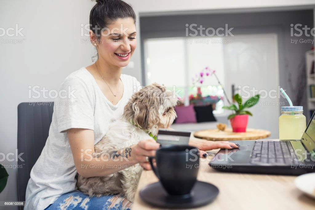 Online shopping with best friend stock photo