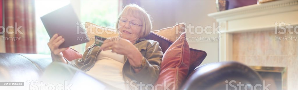 online shopping with digital tablet stock photo