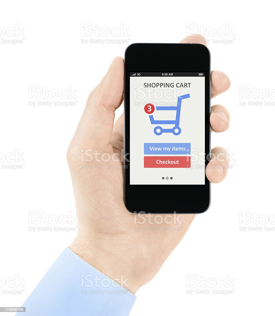Online shopping with mobile phone royalty-free stock photo