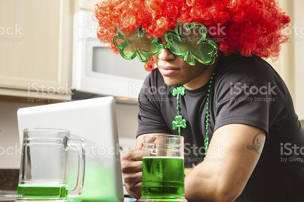 Online St. Patrick's day party stock photo