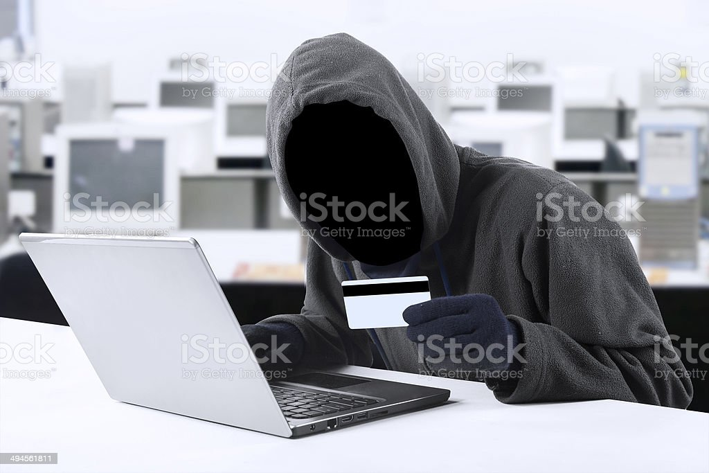 Online stealing credit card stock photo