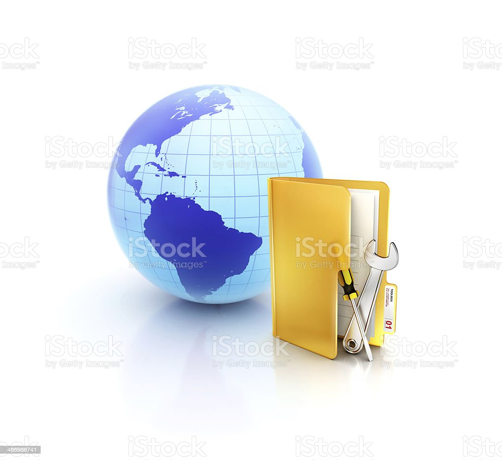 Online support and service tools beside Globe in folder icon stock photo