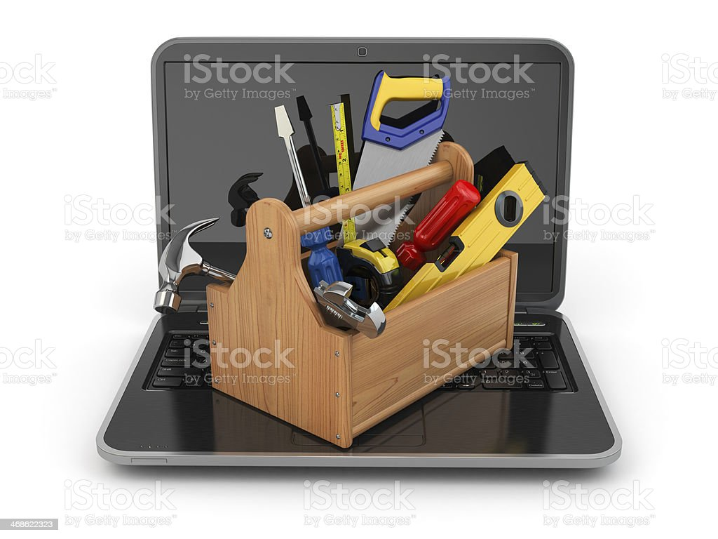 Online support. Laptop and toolbox. 3d stock photo