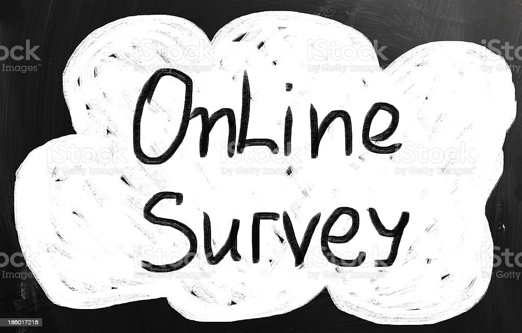 Online survey handwritten with chalk on a blackboard royalty-free stock photo