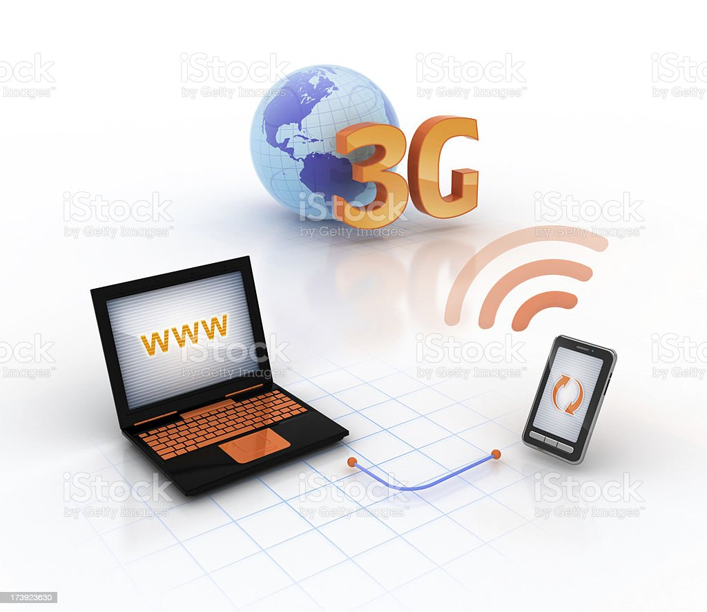 online through 3G modem mobile stock photo
