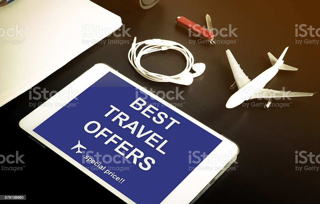 Online travel agency special discount website. stock photo