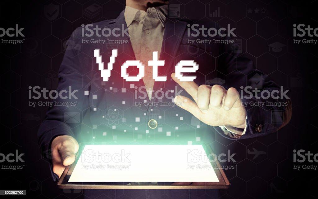 Online vote  concept. stock photo