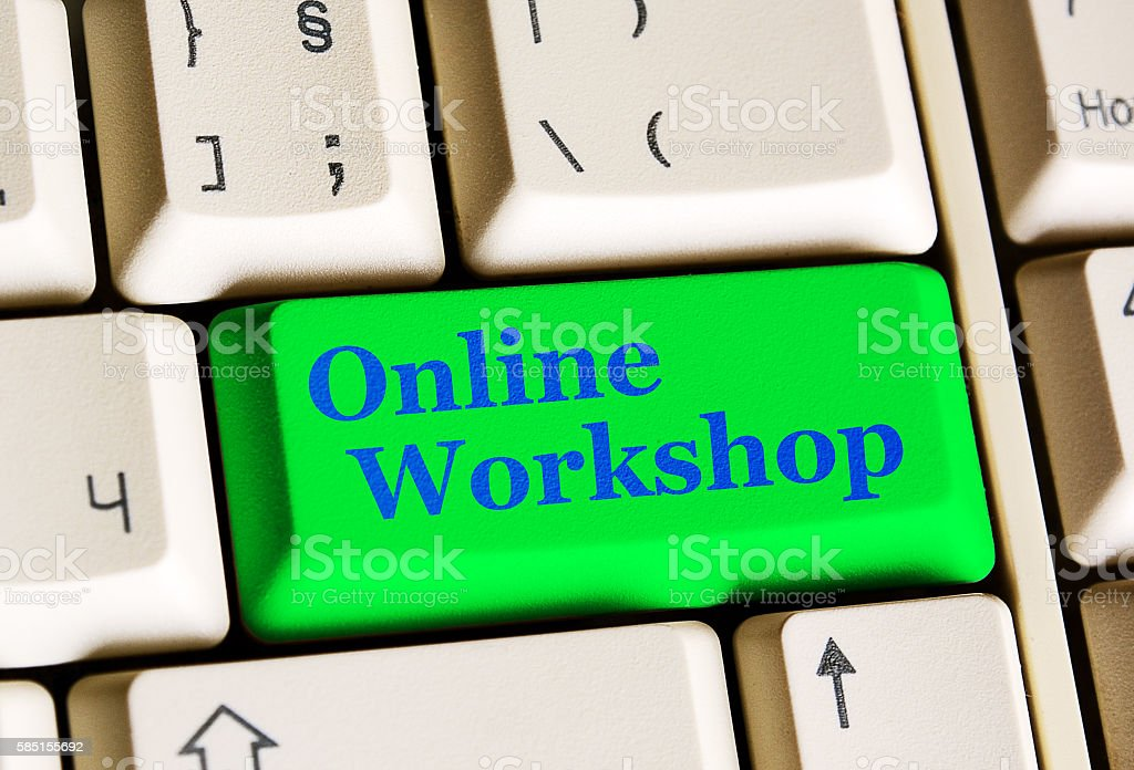Online Workshop green button stock photo
