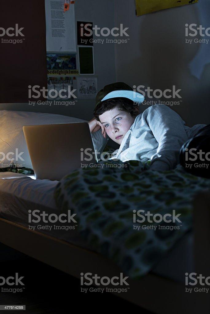 Online Young Teen In His Bedroom stock photo