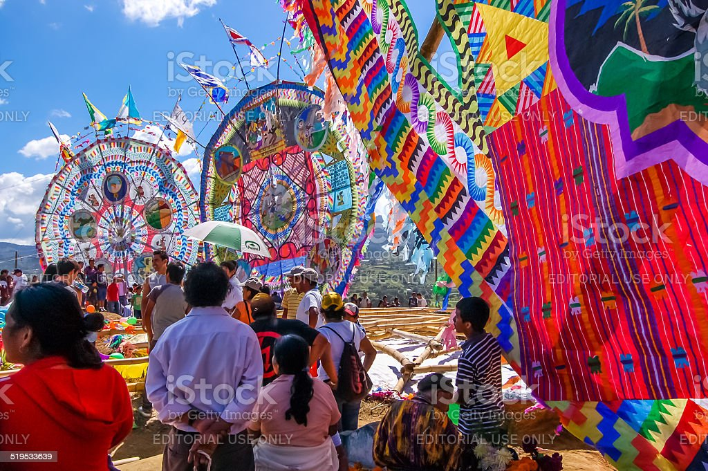 Onlookers watch giant kites, All Saints' Day, Guatemala stock photo