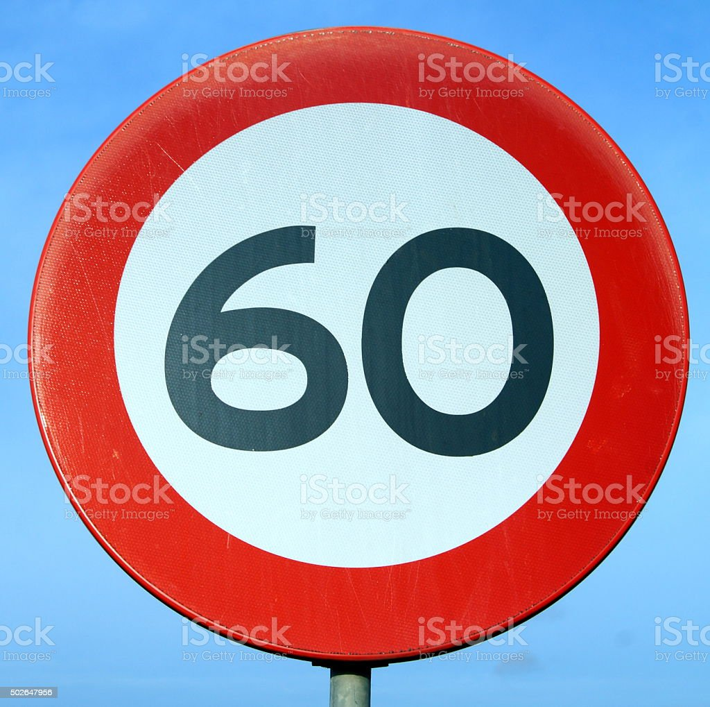 Only 60 Road Sign - Age of sixty stock photo