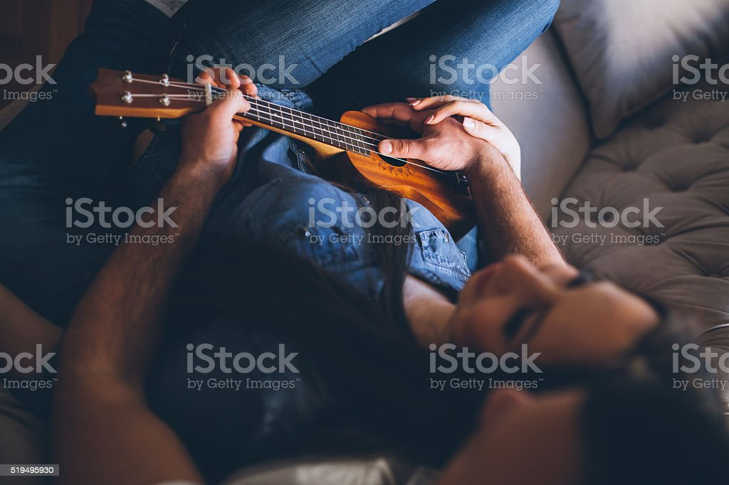 Only you, me and our guitar stock photo