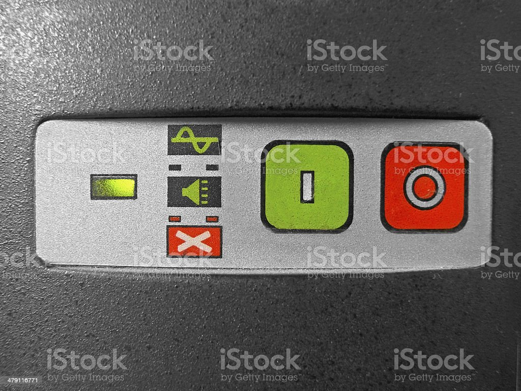 On-Off buttons & light indicators of UPS stock photo