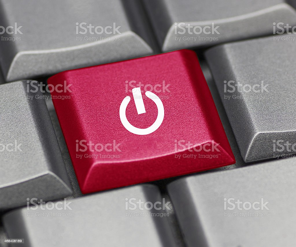 on-off key on the keyboard stock photo