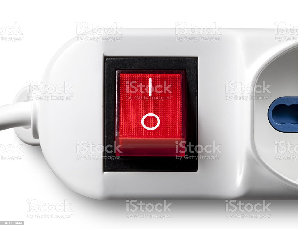 On/off switch red. Multiple outlet socket. stock photo