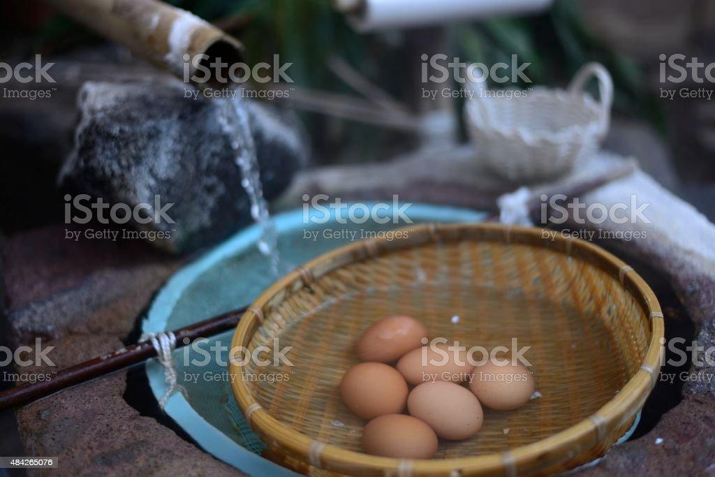 Onsen eggs stock photo