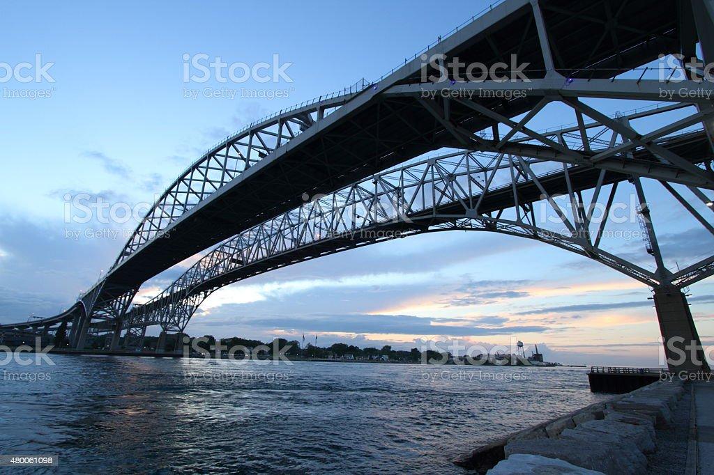 Ontario Canada Blue Water Bridge Horizontal stock photo