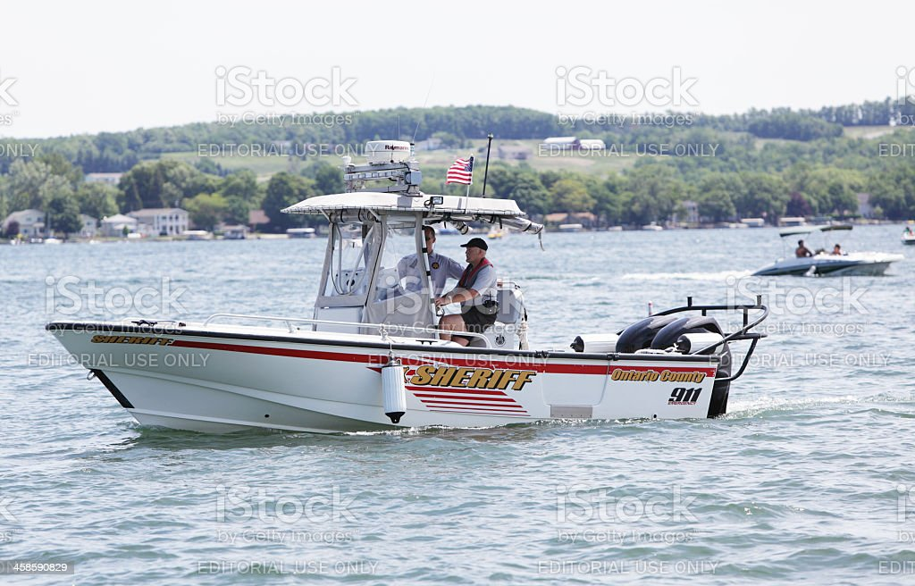 Ontario County Sheriff Patrol Boat on Canandaigua Lake royalty-free stock photo