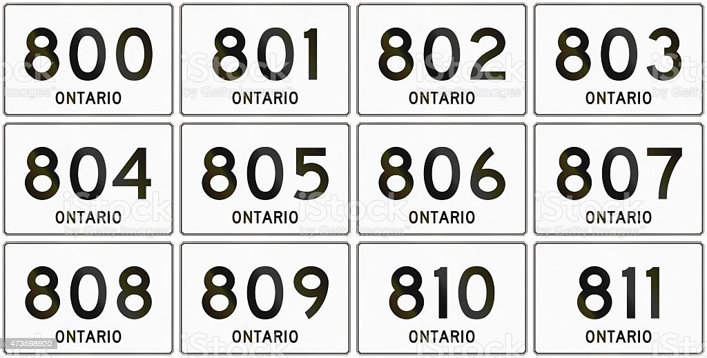 Ontario Highway Signs 800 to 811 stock photo