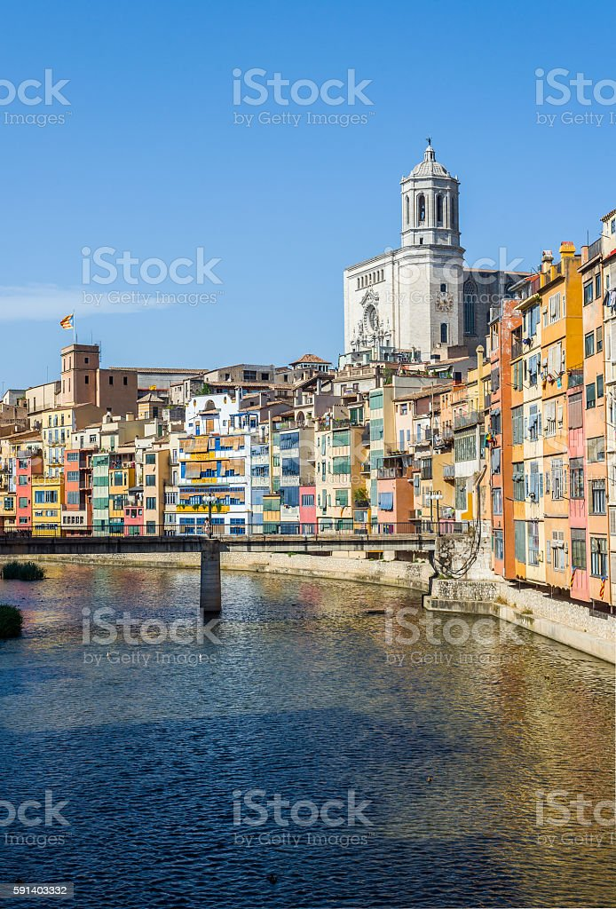 Onyar river crossing the downtown of Girona. Spain stock photo