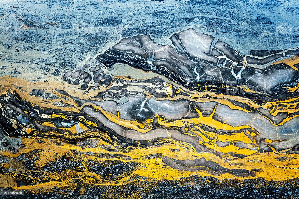 Onyx marble,blue,orange, yellow,brown,Beijing,China stock photo