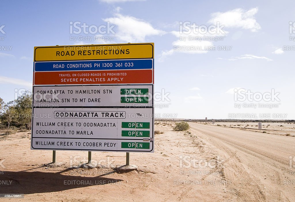 Oodnadatta Track Road Sign stock photo
