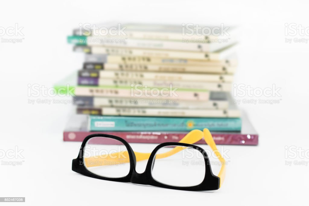 ooks in a mess and glasses stock photo