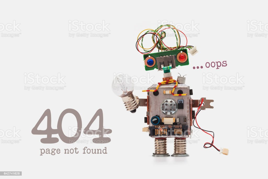 Oops 404 error page not found. Futuristic robot concept with electrical wire hairstyle. Circuits socket chip toy mechanism, funny head, colored eyes, light bulb in hand. beige background stock photo