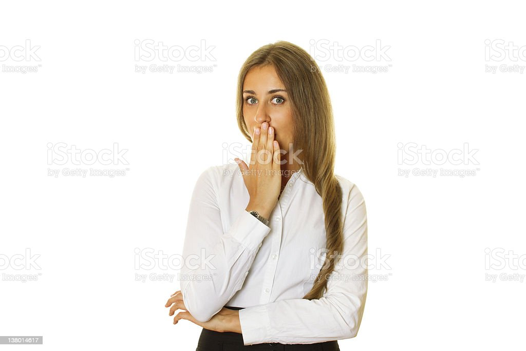 Oops! Attractive business woman stock photo