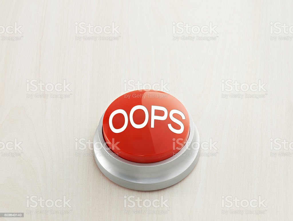 Oops button stock photo
