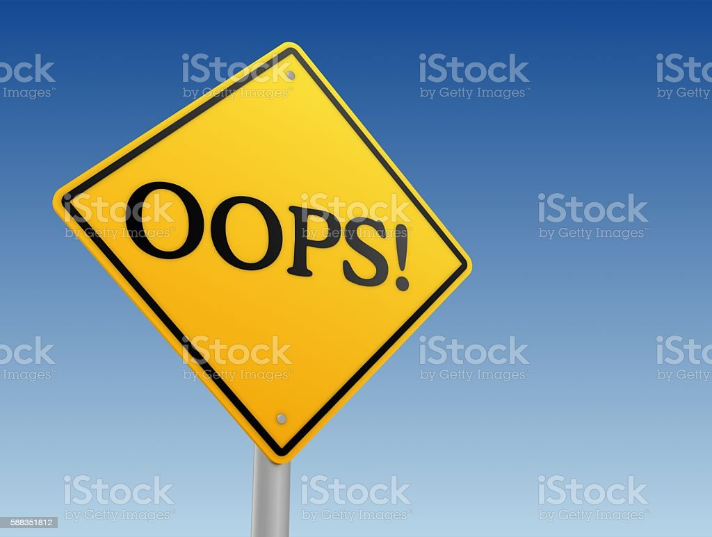 oops direction sign stock photo