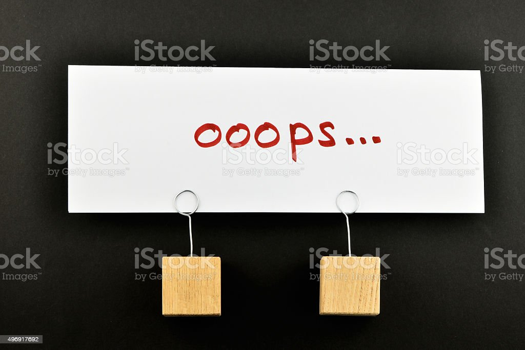 Oops, one big paper note on black for presentation royalty-free stock photo