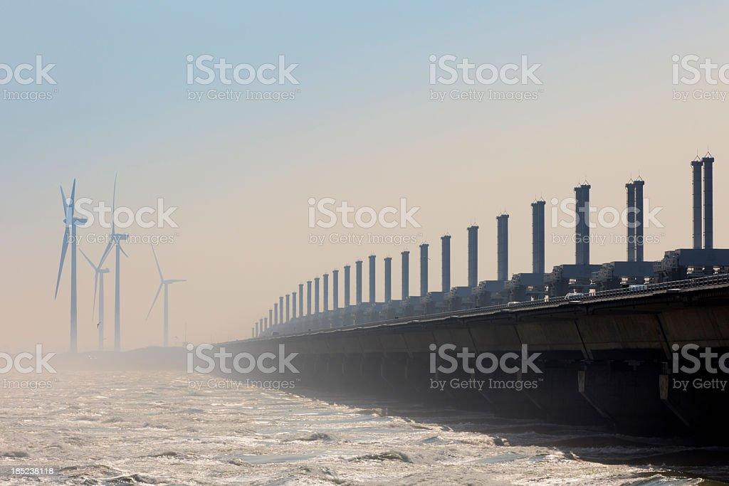 Oosterschelde storm surge barrier stock photo