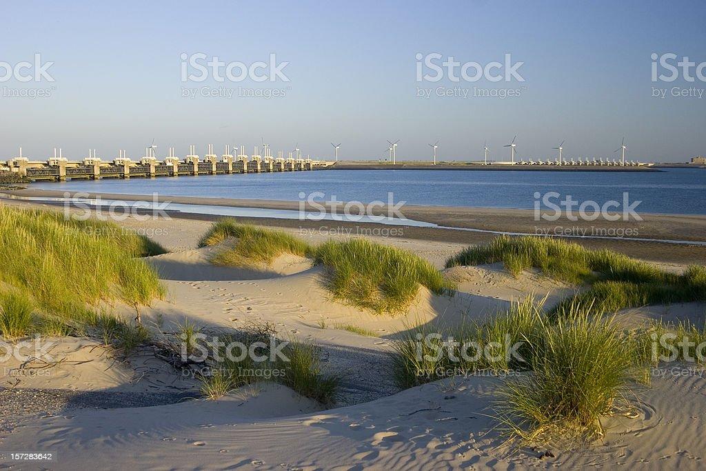 Oosterscheldedam dunes at night stock photo