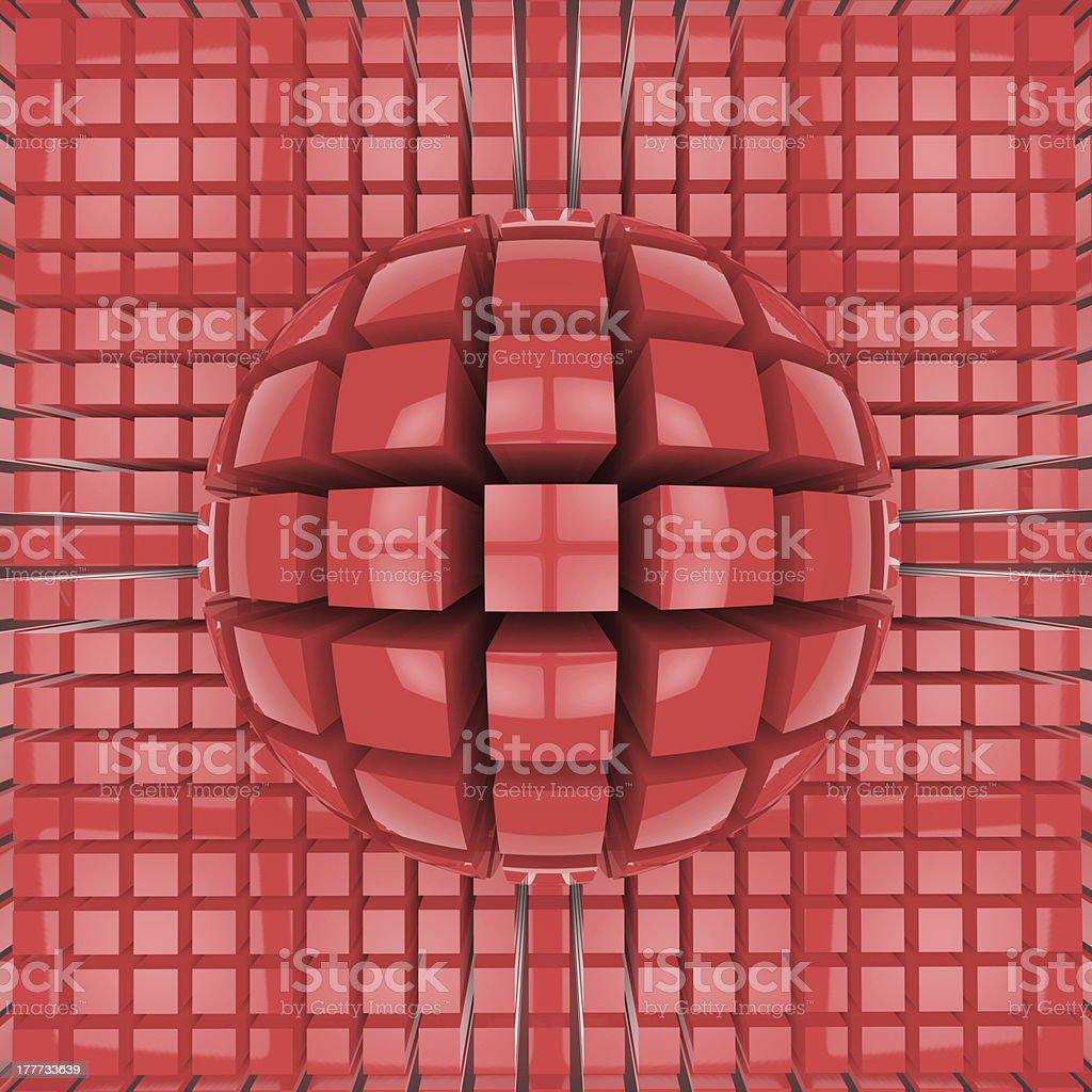 Op art red sphere pattern stock photo