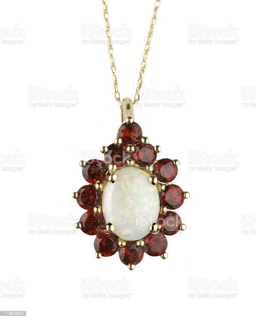 Opal & Garnet Pendant stock photo