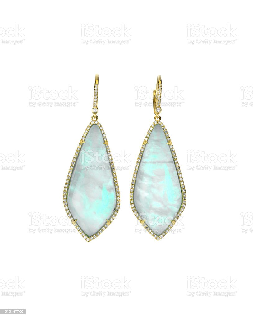 Opal gemstone and diamond earrings stock photo