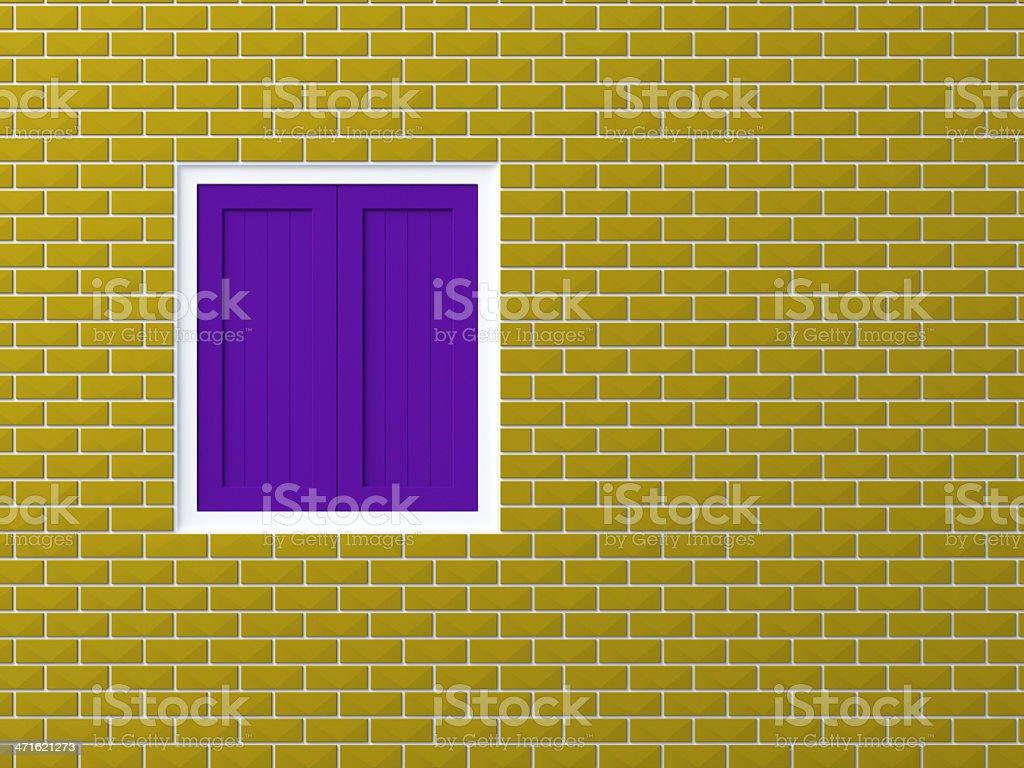 Opaque  window on brick wall royalty-free stock photo